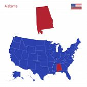 The State Of Alabama Is Highlighted In Red. Blue Vector Map Of The United States Divided Into Separa poster