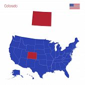 The State Of Colorado Is Highlighted In Red. Blue Vector Map Of The United States Divided Into Separ poster