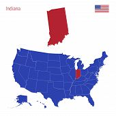 The State Of Indiana Is Highlighted In Red. Blue Vector Map Of The United States Divided Into Separa poster