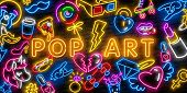Pop Art Icons Set. Pop Art Neon Sign. Bright Signboard, Light Banner. Neon Isolated Icon, Emblem. He poster
