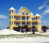 stock photo of beach-house  - Photographed beach home on the Gulf of Mexico Florida - JPG