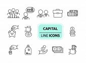 Capital Icons. Line Icons Collection On White Background. Piggy Bank, Investment, Earning. Money Con poster