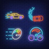 Racing Cars And Speedometers Neon Signs Set. Car Racing, Entertainment And Sport Design. Night Brigh poster