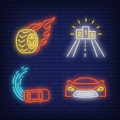 Racing Cars, Winners Podium And Wheel On Fire Neon Signs Set. Car Racing, Entertainment And Sport De poster