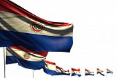 Nice Any Celebration Flag 3d Illustration  - Paraguay Isolated Flags Placed Diagonal, Image With Bok poster