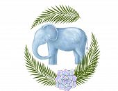Happy Birthday Card With Cute Elephant Watercolor Animal. Cute Baby Greeting Card. Boho Flowers And  poster