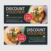 Discount Gift Voucher Asian Food Template Design. Noodles Set. Use For Coupon, Banner, Flyer, Sale,  poster