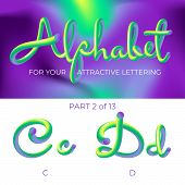 3d Neon Led Alphabet Font. Logo C Letter, D Letter With Rounded Shapes. Matte Three-dimensional Lett poster