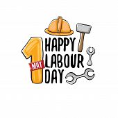 Cartoon Happy Labour Day Vector Label Isolated On White. Vector Happy Labor Day Background Or Banner poster