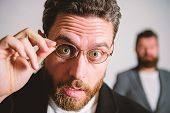 Picky Smart Inspector. Man Handsome Bearded Guy Wear Eyeglasses. Eye Health And Sight. Optics And Vi poster