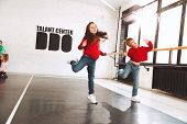 The Kids At Dance School. Ballet, Hiphop, Street, Funky And Modern Dancers Over Studio Background. C poster