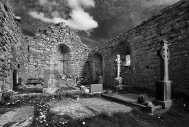 pic of carron  - 13th century Carron Church in the Buren Co. Clare Ireland Interior view - JPG