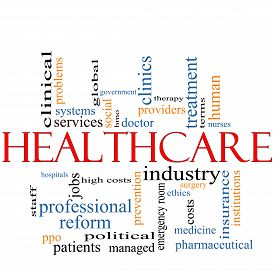 stock photo of health-care  - A Healthcare word cloud concept with terms such as reform industry insurance hospital doctor nursers and more - JPG