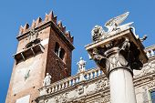 Piazza Delle Erbe And Lion Of Saint Mark In Verona, Veneto, Italy