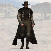 picture of vaquero  - wild west bad guy with clipping path - JPG