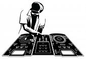 Disk jockey in black silhouette. Console and character are separated and easily selectable