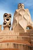 Chimneys like masked soldiers on the roof of La Pedrera