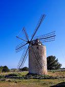 pic of mola  - Windmill in el Pilar de la Mola on the island Formentera Balearic Islands Spain - JPG