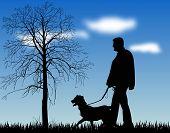 Постер, плакат: Иллюстрация человека идущего его собака