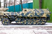 picture of military personnel  - Old Russia military armored personnel carrier - JPG