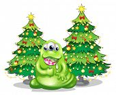 Illustration of the christmas trees at the back of the monster with a lollipop on a white background