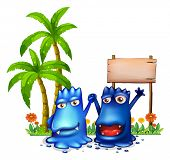 Illustration of the two happy blue monsters in front of the wooden signage near the palm trees on a