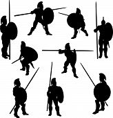 picture of spartan  - A set of Spartan Hoplite Silhouette illustrations in various poses - JPG