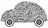 stock photo of dredge  - Cars spare parts and service icons in form of car - JPG