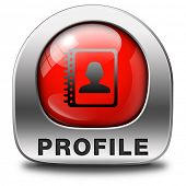 Profile personal data information and bio icon or button your avatar