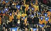 BARCELONA - DEC, 30: Catalan supporters with independentist flags  during the friendly match between