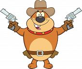 Brown Bulldog Cowboy Character Holding Up Two Revolvers