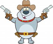 Gray Bulldog Cowboy Character Holding Up Two Revolvers