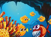 Illustration of a group of puffer fishes and a scary piranha inside the cave