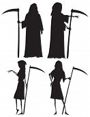 Silhouettes of The Grim Reaper and his wife The Grim Reapress with scythes