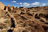 picture of pueblo  - Ancient Pueblo Bonito Ruins in Chaco Canyon, New Mexico ** Note: Soft Focus at 100%, best at smaller sizes - JPG