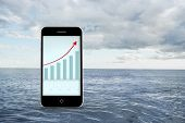 Arrows and barchart on smartphone screen against cloudy sky and ocean