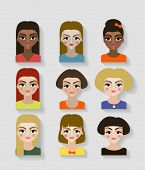 image of teen pony tail  - cute illustrations of beautiful young girls with various hair style - JPG