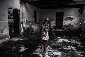picture of scary haunted  - The Scary Zombie girl in haunted house - JPG