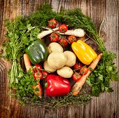 image of parsnips  - Nest of vegetables a mix with potatoes paprika carrots cherry tomatoes and parsnip surrounded by herbs - JPG