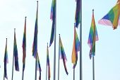 stock photo of gay symbol  - Rainbow flags as a symbol for the gay pride - JPG