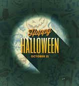 picture of sorcerer  - Halloween vector type design on a hand drawn background - JPG