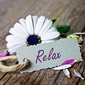 picture of coupon  - relax coupon with single white flower on wooden table - JPG