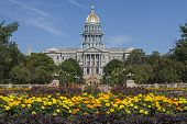 stock photo of capitol building  - Golden Dome of Colorado State Capitol Building in Denver - JPG
