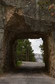 picture of mount rushmore national memorial  - view of mount Rushmore from a distant road tunnel - JPG