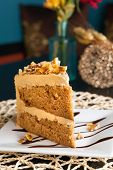 picture of toffee  - Slice of almond toffee cake with coffee flavored icing - JPG