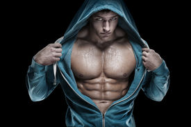 picture of packing  - Strong Athletic Man Fitness Model Torso showing six pack abs - JPG