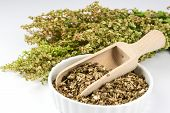 stock photo of sorrel  - Bowl with dried sorrel and bunch of fresh sorrel - JPG