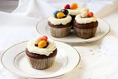 picture of easter candy  - Easter cupcakes with topping and candy eggs - JPG