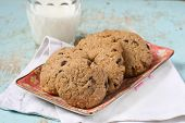 picture of buckwheat  - Buckwheat cookies with chocolate chips and milk - JPG