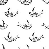 pic of peppy  - white seamless pattern with black fish sign - JPG
